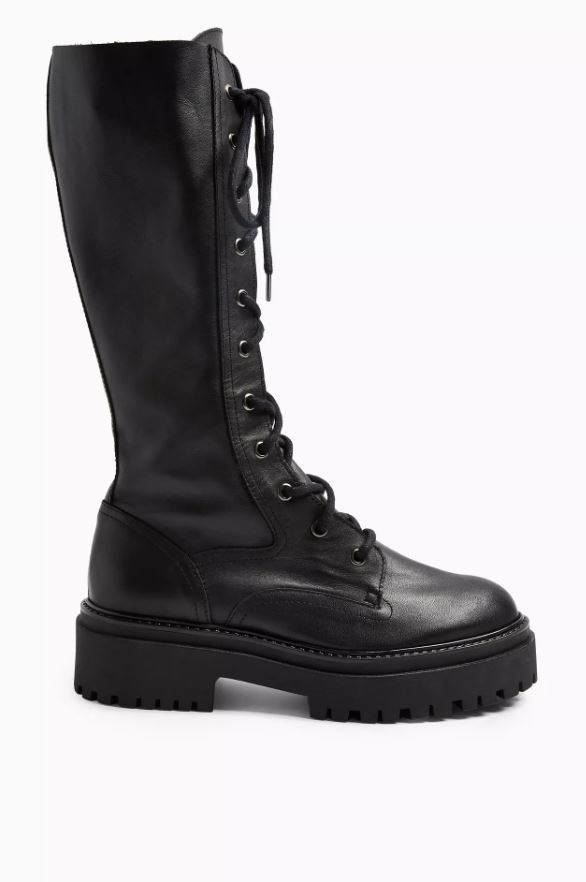 ATSY Black Calf Lace Up Leather Boots