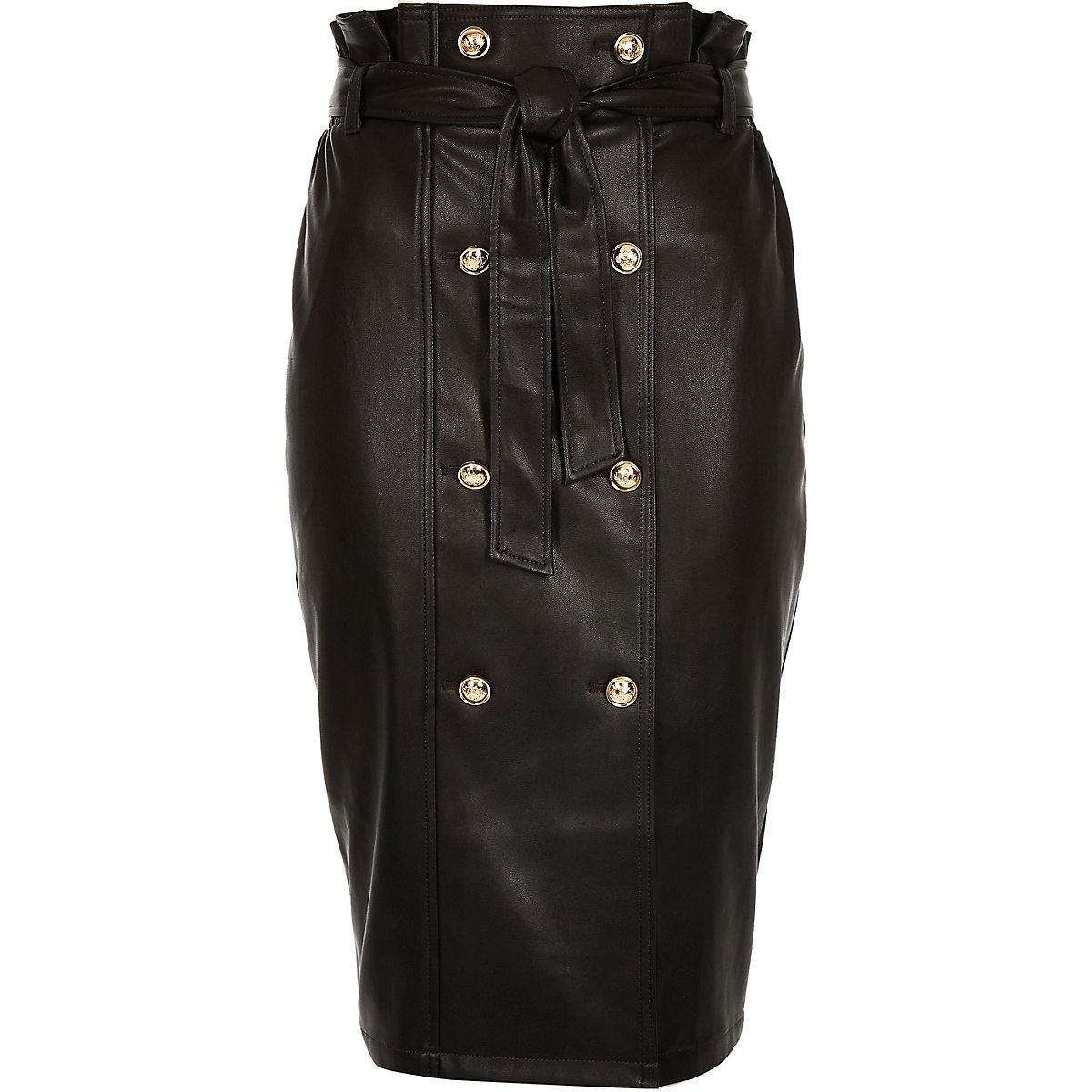 Black Faux Leather Tie Waist Pencil Skirt