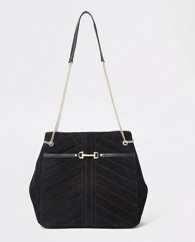 Black Leather Quilted Slouch Bag