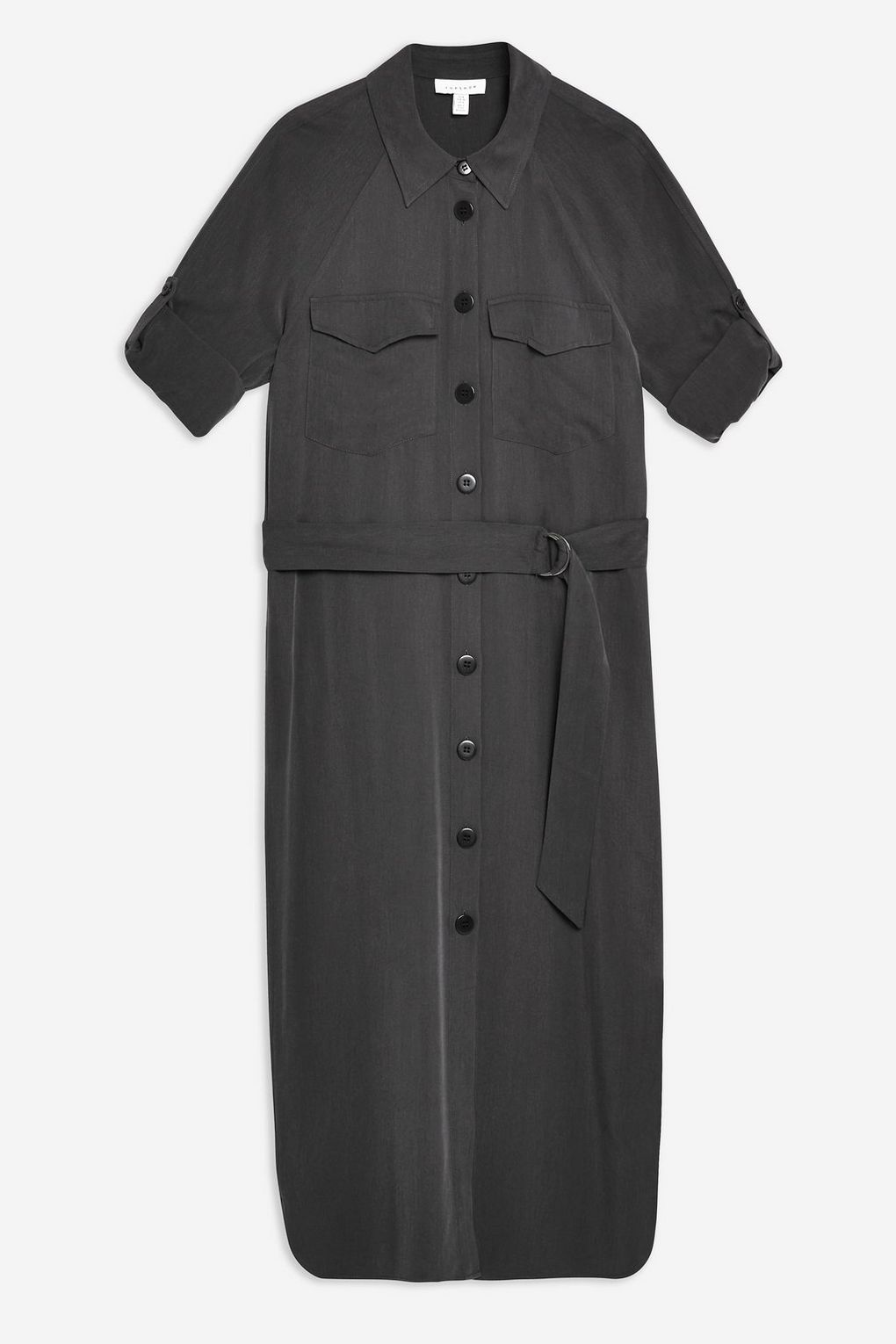 Black Utility Midi Shirt Dress