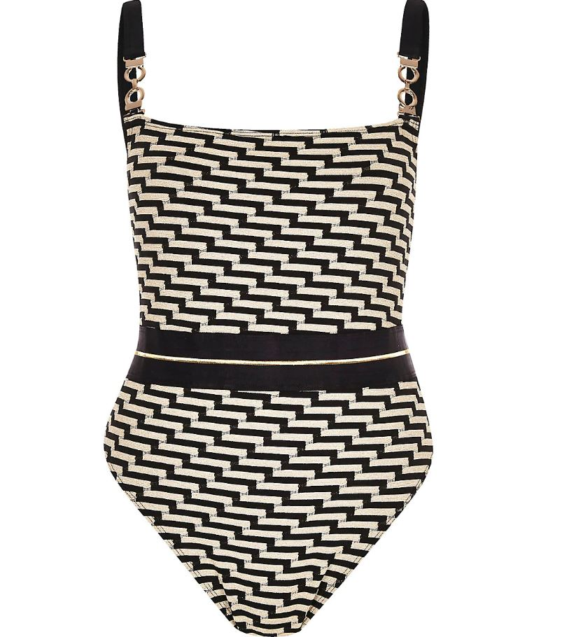 Black Zig Zag Print Square Neck Swimsuit