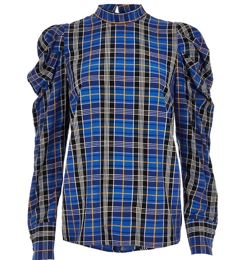 Blue Check Puff Sleeve Top