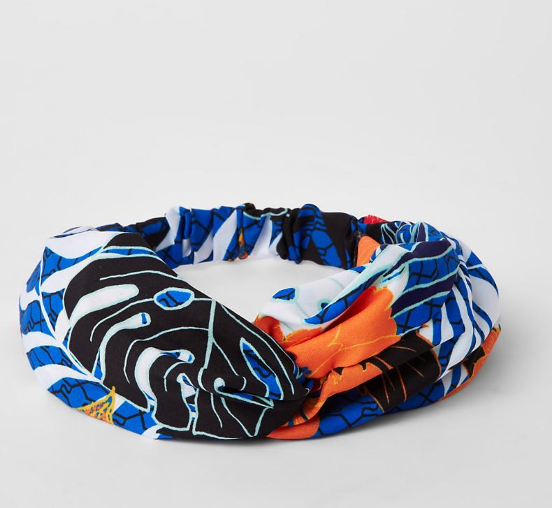 Blue RI Printed Twist Headband