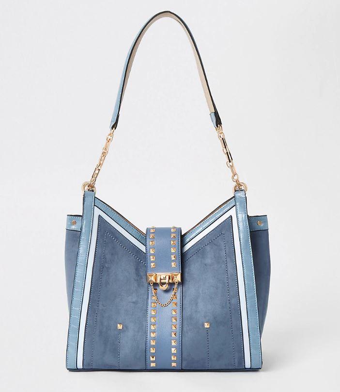 Blue Studded Slouch Bag
