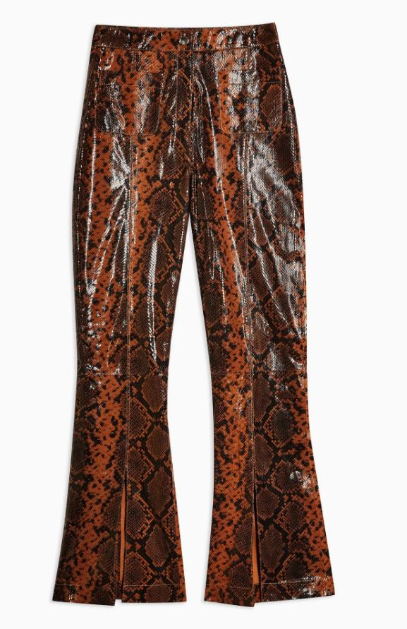Brown Leather Snake Trousers