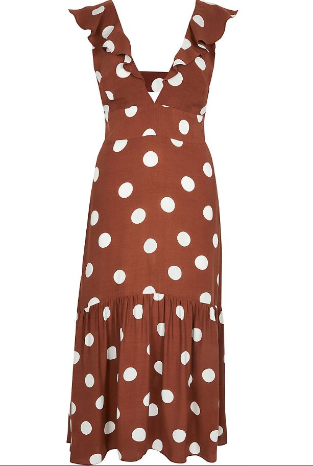 Brown Spot Plunge Neck Midi Dress