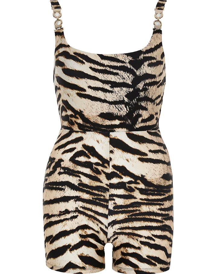 Brown Zebra Print Unitard Swimsuit