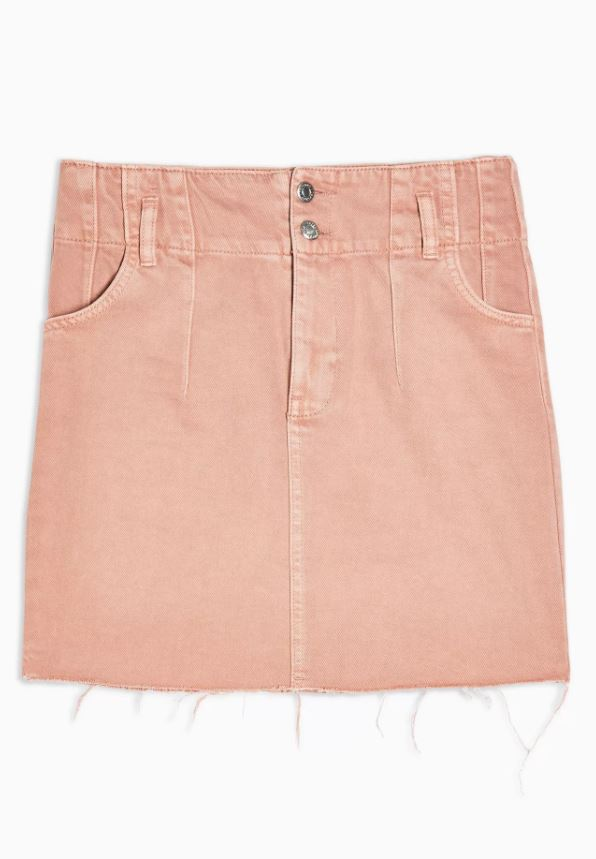 Considered Apricot Denim Button Front Skirt