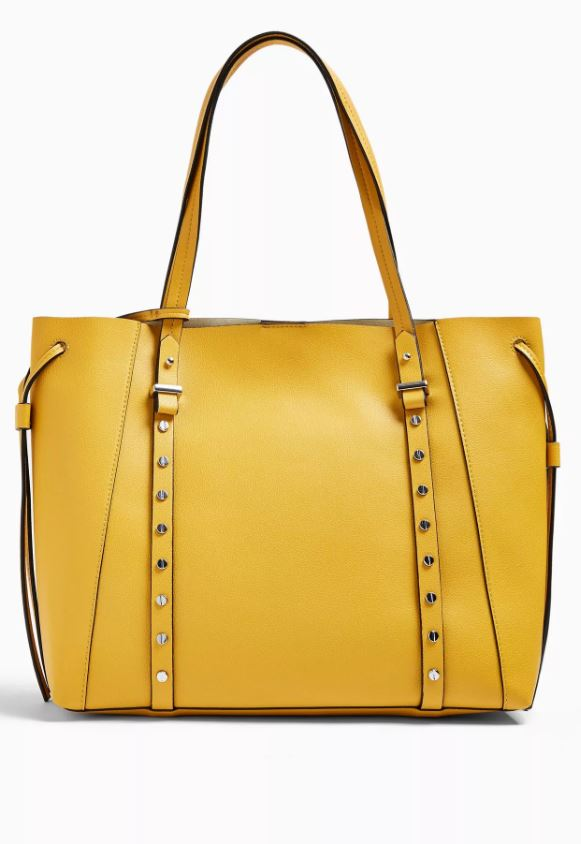 Dani Mustard PU Stud Tote Bag