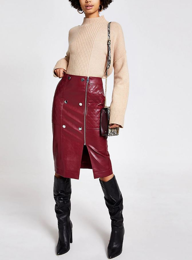 Dark Red Quilted Faux Leather Mid Skirt