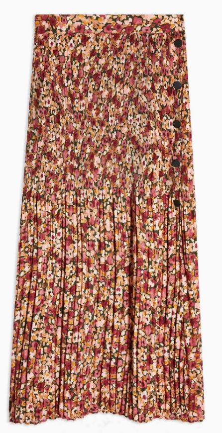 Floral Pleat Side Button Midi Skirt