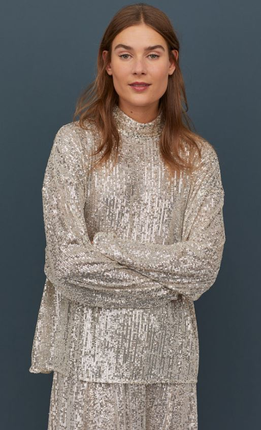 High-Collared Sequined Top -