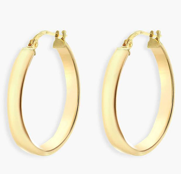 IBB 9ct Yellow Gold Creole Hoop Earrings