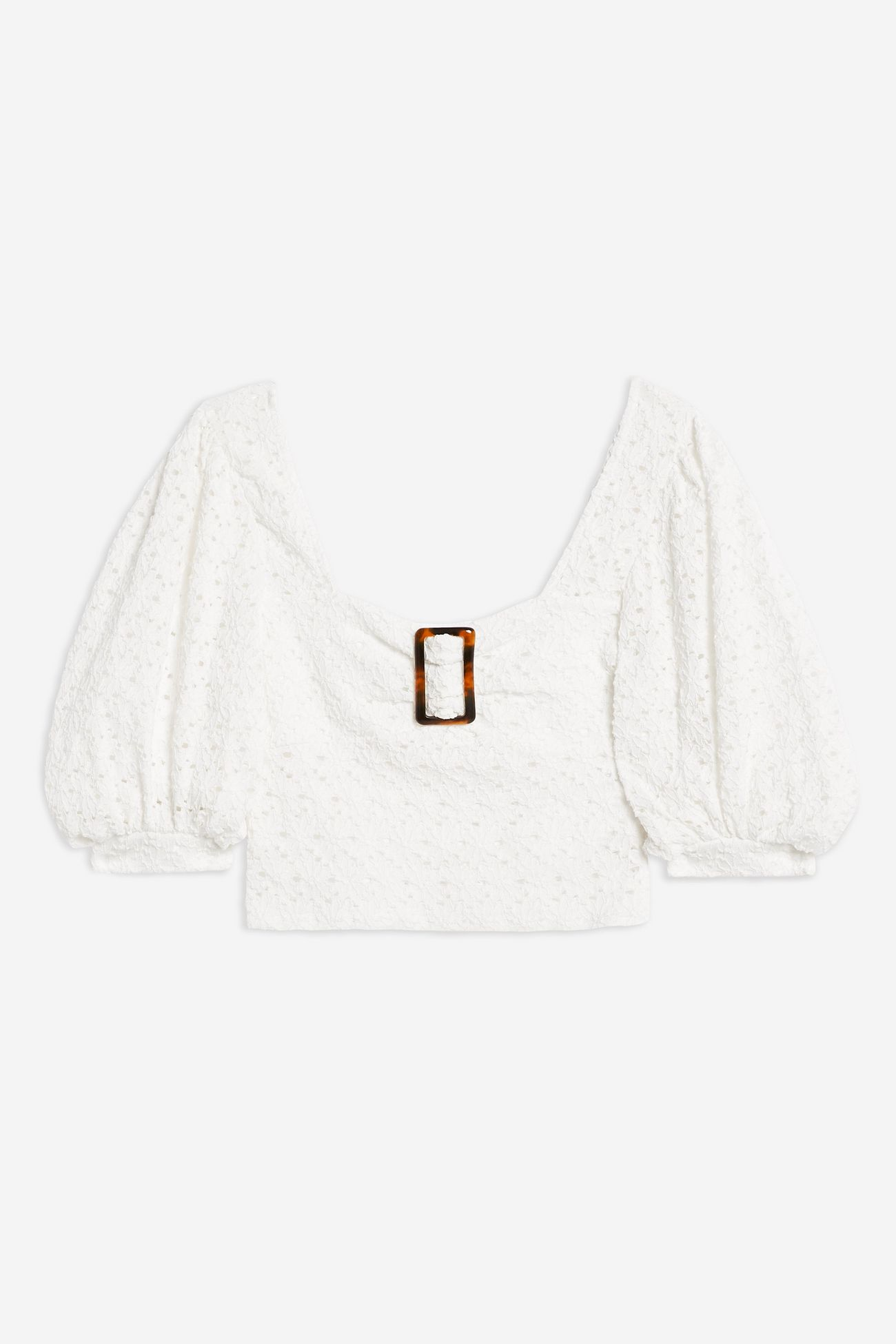 Lace Buckle Puff Sleeve Top