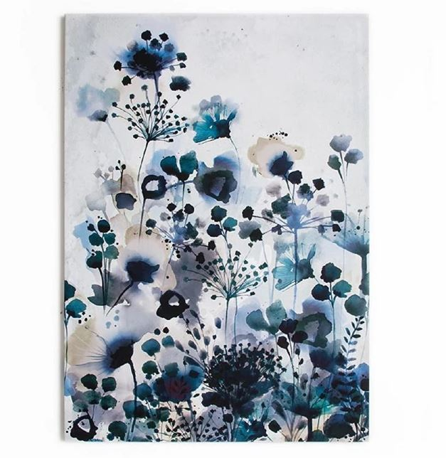 Moody Blue Floral Watercolour Printed Canvas Wall Art