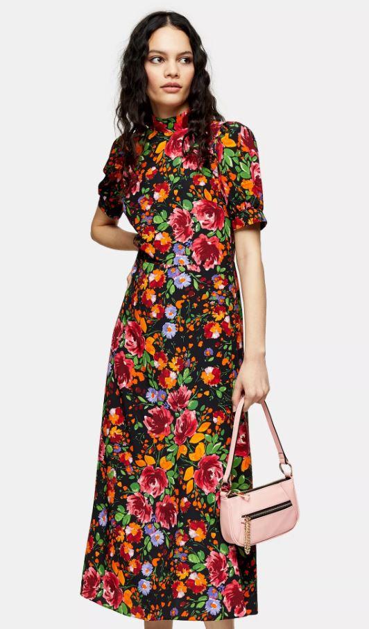 Multi-coloured Floral Print Tea Dress