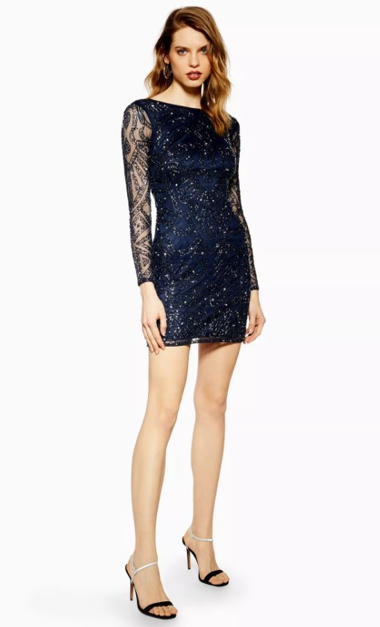 Navy Embellished Dress By Lace & Beads