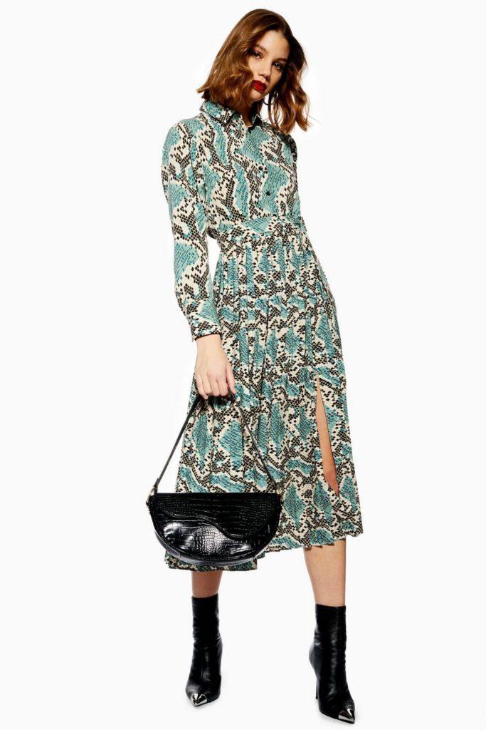 Python Pleated Shirt Dress