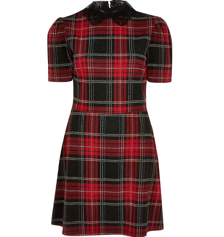 Red Tartan Check Collar Mini Dress