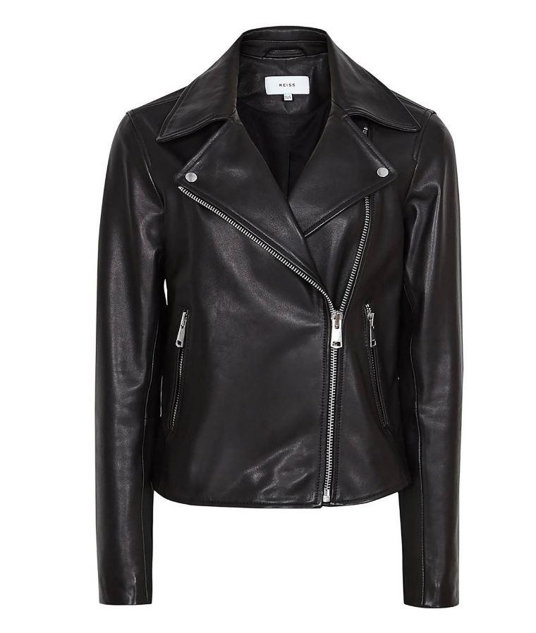 Reiss Geo Leather Biker Jacket