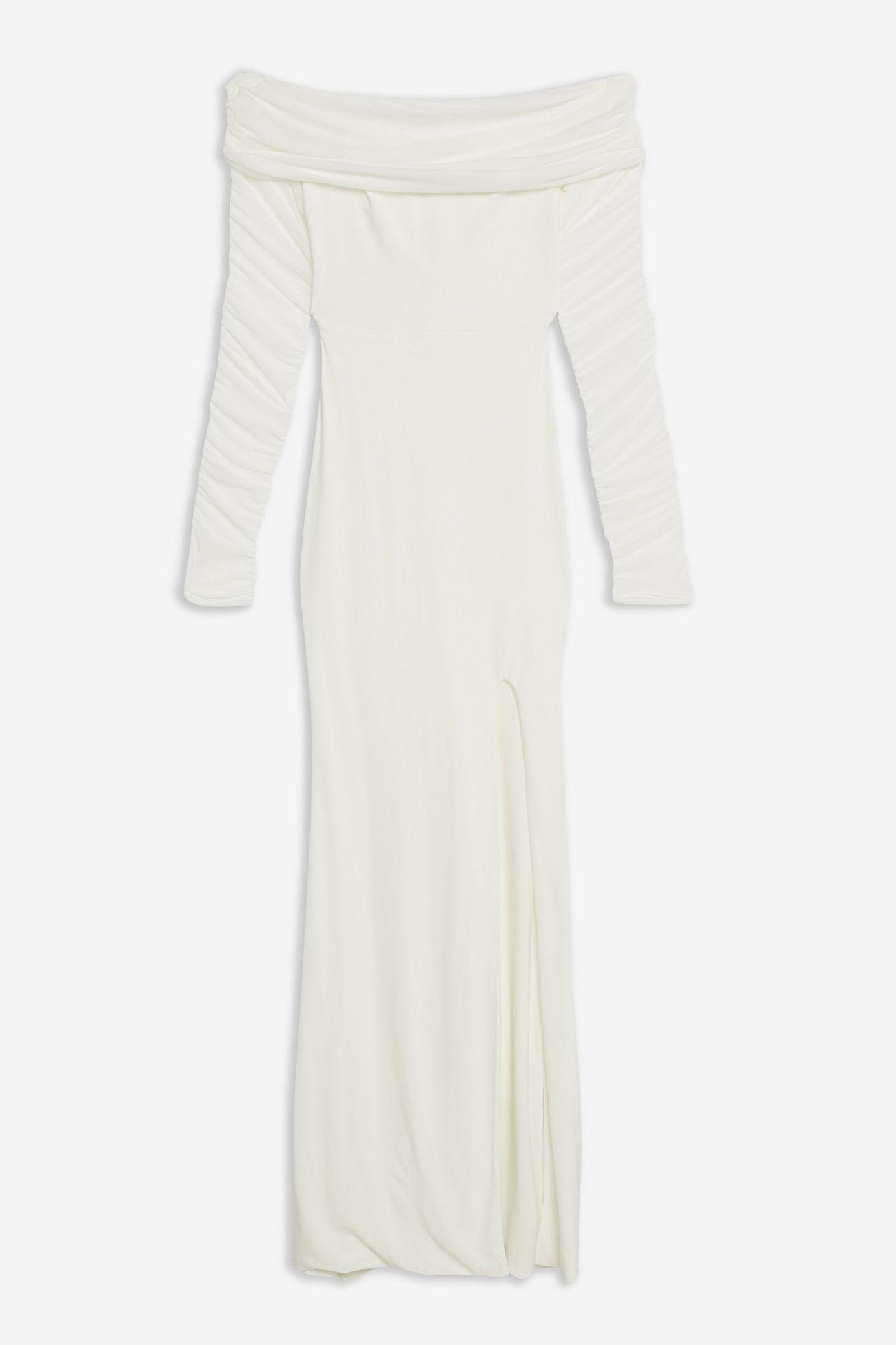 Ruched Mesh Bardot Maxi Dress By Club L