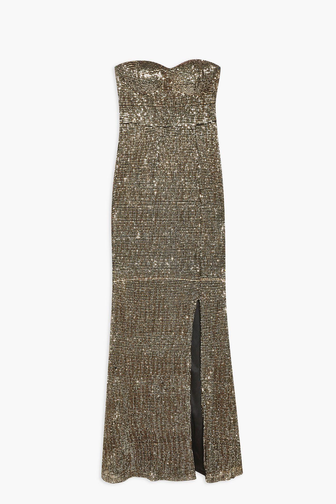 Sequin Bandeau Fishtail Maxi Dress By Club L