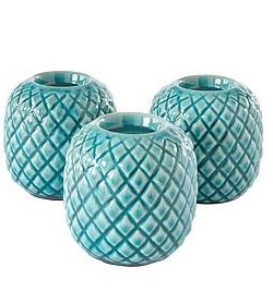Teal Etched Candle Holders