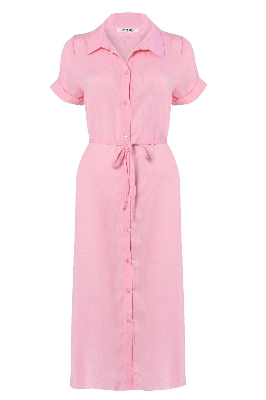 Tie Waist Mid Maxi Shirt Dress By Glamorous