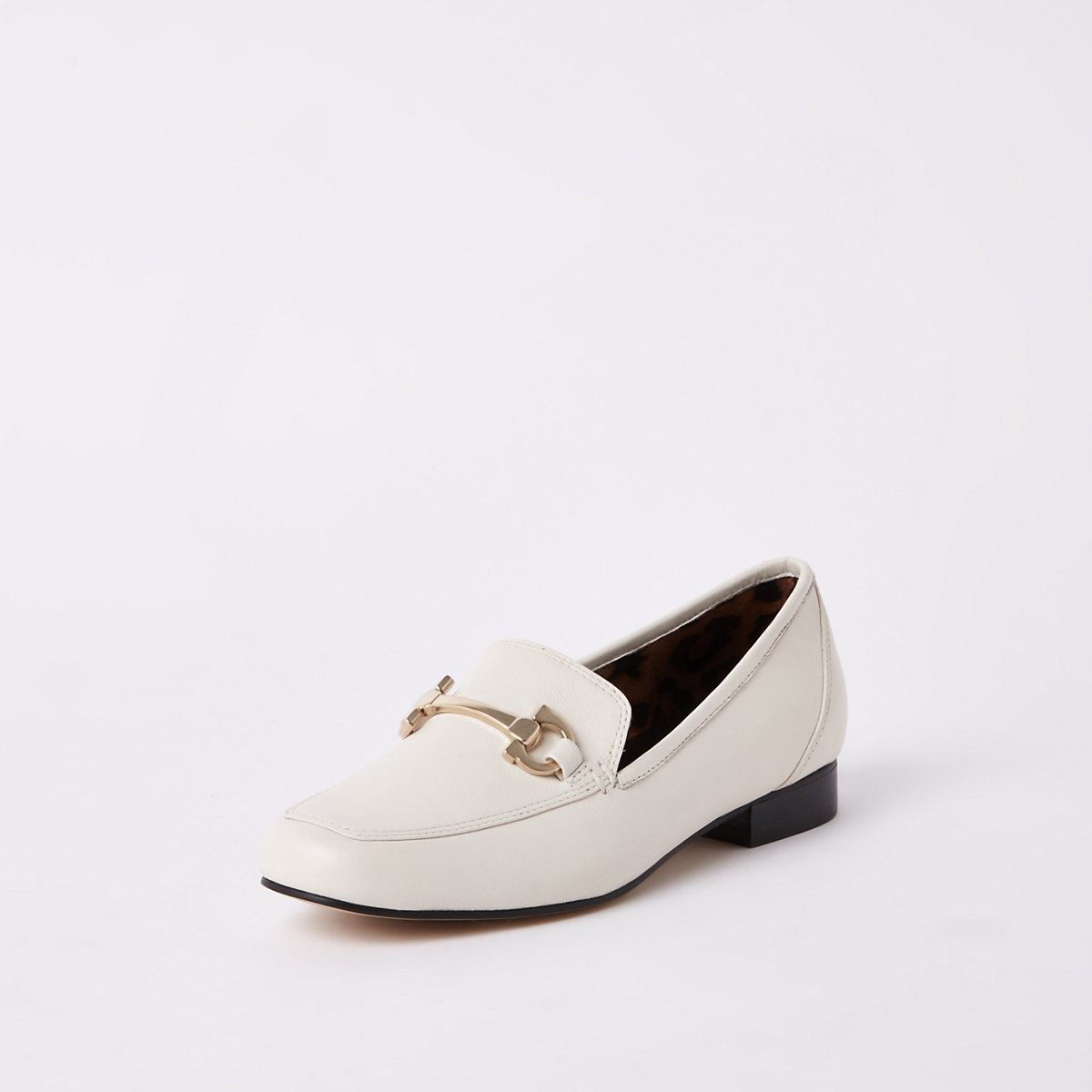 White Leather Square Toe Snaffle Loafer