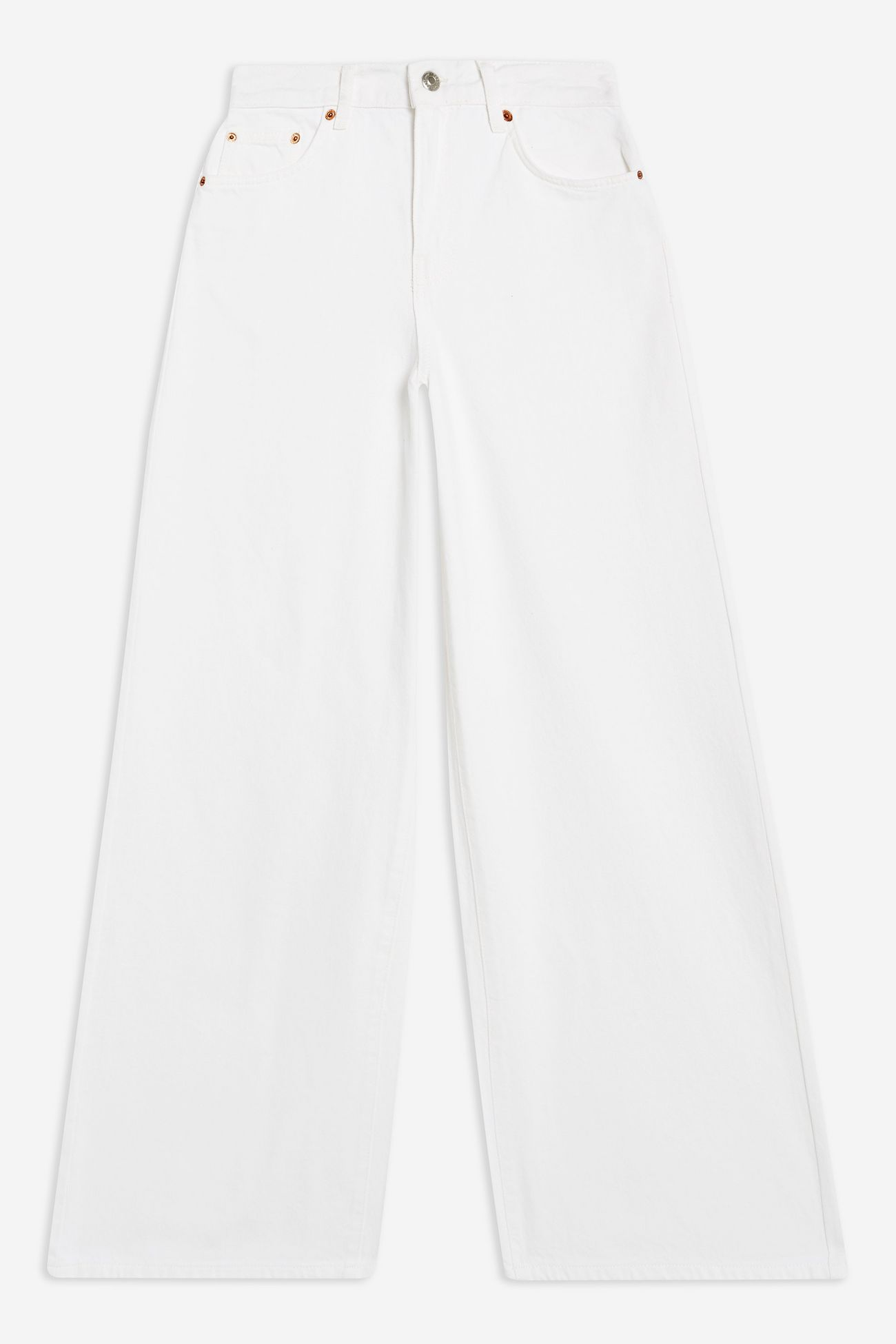 White Slim Wide Leg Jeans