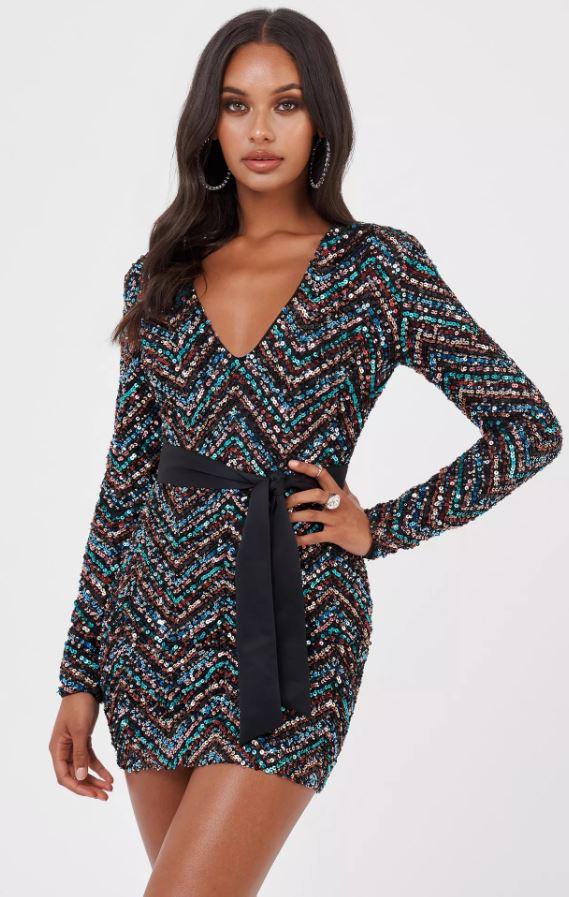 Zig Zag Sequin Mini Dress By Club L