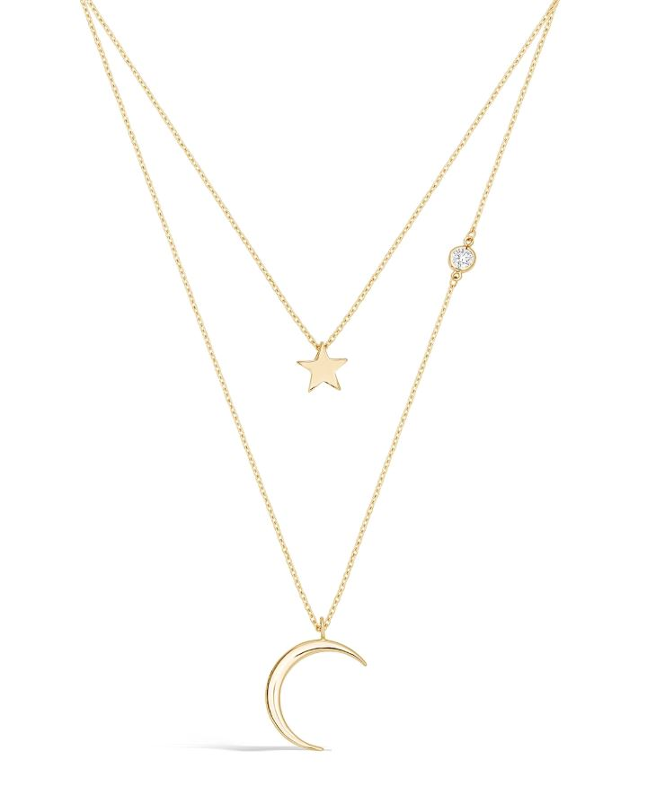 9ct Gold Celestial Moon And Star Double Chain Necklace