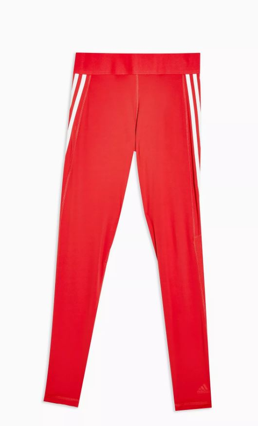 Adidas Three Stripe Red Leggings