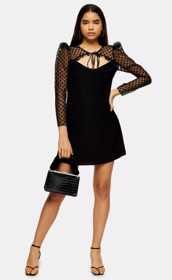 Black Spot Organza Sleeve Mini Dress