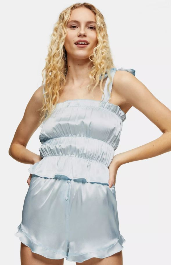 Blue Satin Ruched Cami Pyjama Set