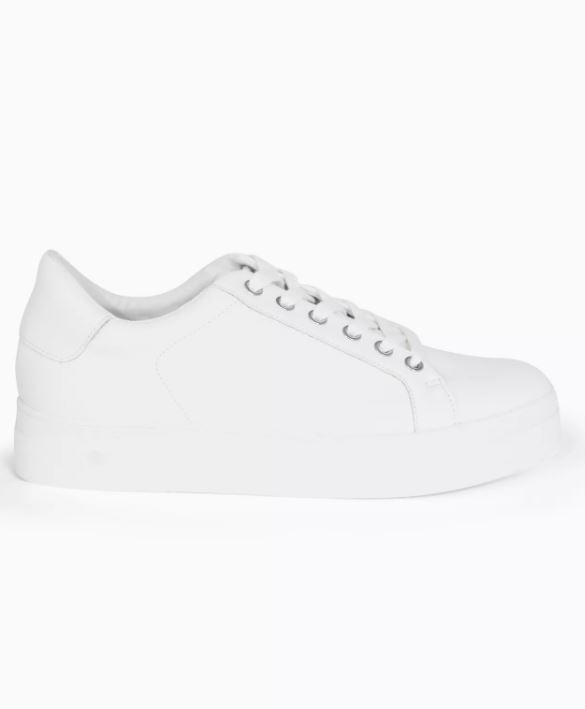 Candy White Lace-Up Trainers