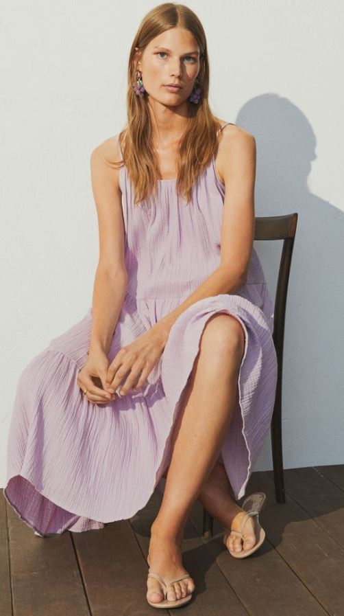 H&M Crinkled Cotton Dress
