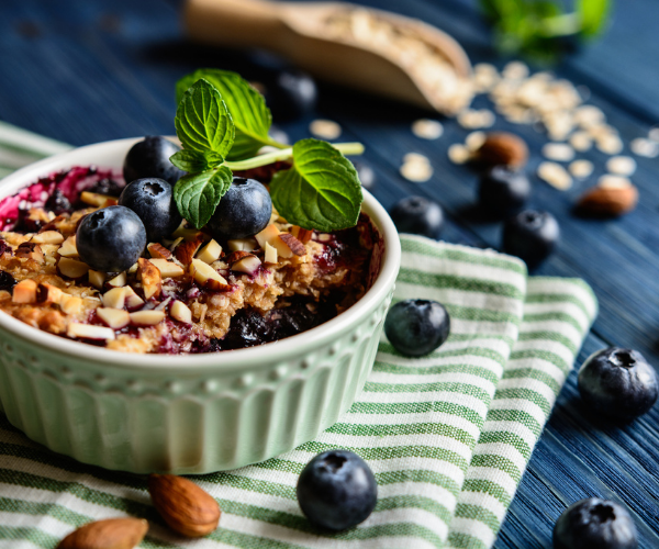 Blueberry and Almond baked oats
