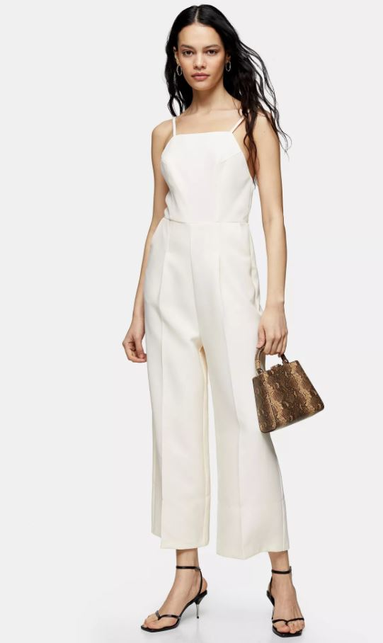 Topshop Ivory Cross Back Strappy Jumpsuit
