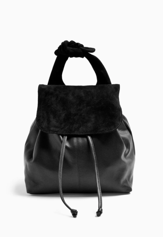 Leon Black Leather Bow Backpack