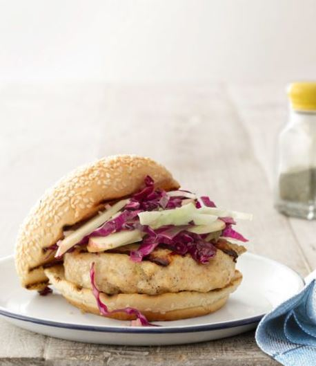 Mizo-Glazed Chicken Burgers with Cabbage-Apple Slaw