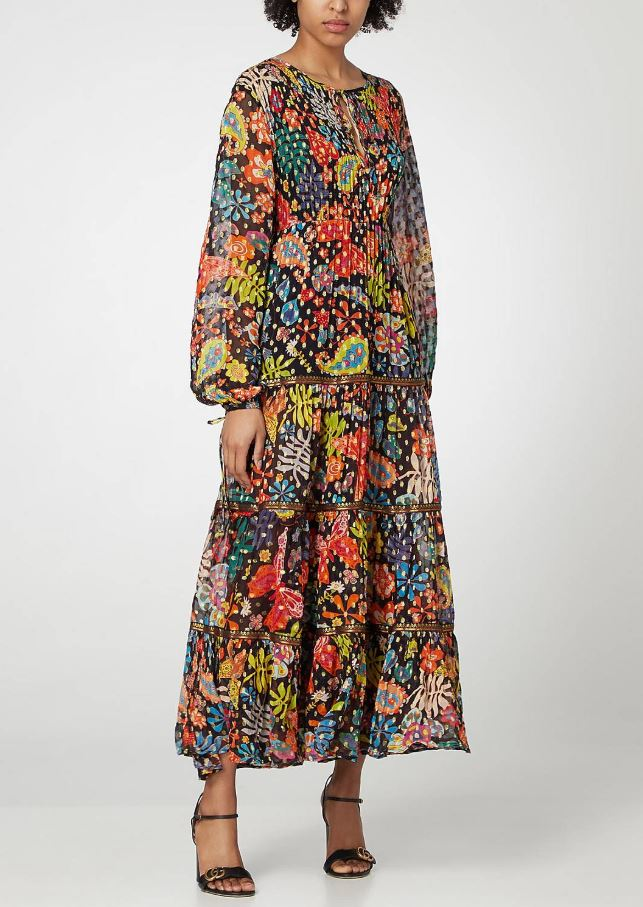 Brown Thomas Rixo Lori Floral Print Tiered Maxi Dress