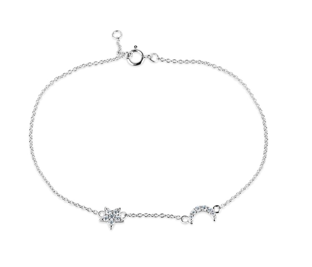 Sterling Silver Moon & Star Bracelet
