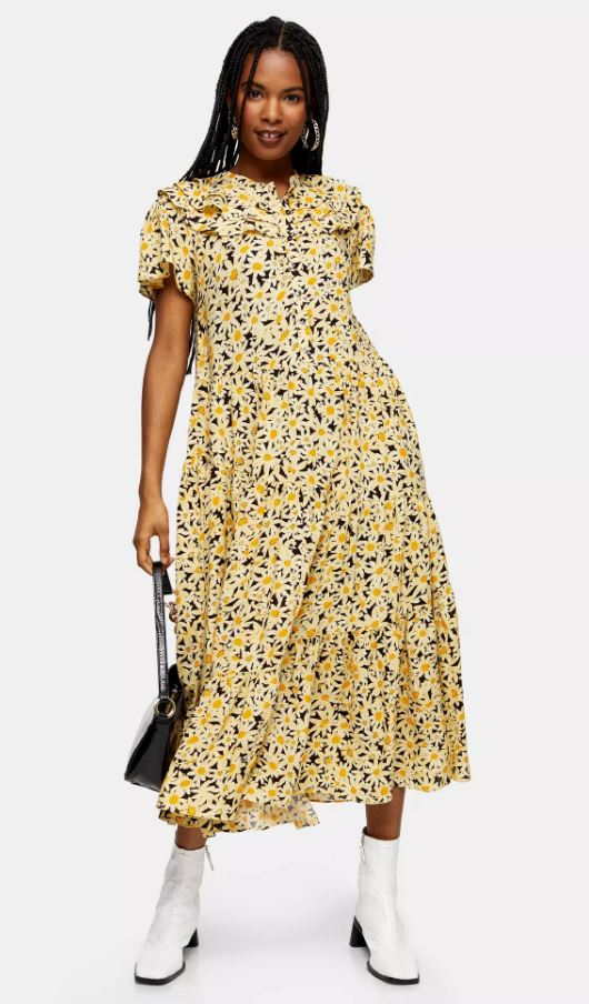 Topshop Yellow Daisy Grandad Midi Shirt Dress